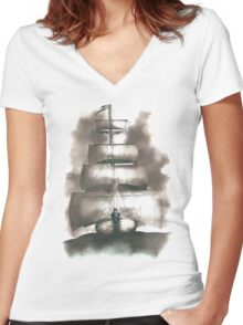 Sailing in the storm Women's Fitted V-Neck T-Shirt