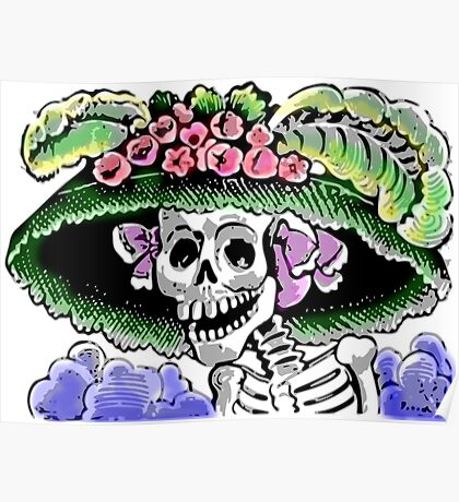Funny Skeleton with funny hat and flowers Poster