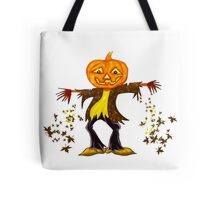 Smiling Halloween Scarecrow with jack o lantern head  Tote Bag