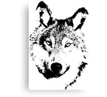 black and white, cartoon head of the beast, wolf Canvas Print