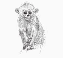 Cute Baby Monkey Sketch Kids Clothes