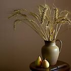 Still life with pot ,wheats and pears by Margarita K