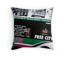 bus passing printworks Throw Pillow