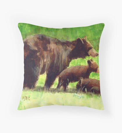 The Three Bears Throw Pillow