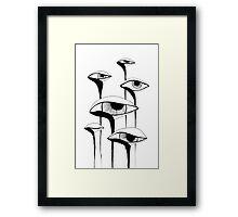 Sad Mushrooms Framed Print