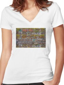 Scratched advertising Women's Fitted V-Neck T-Shirt