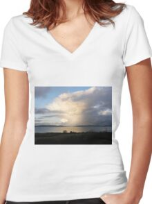 Mystical Sweeping rain shower over lough Foyle, Derry, Ireland. Women's Fitted V-Neck T-Shirt