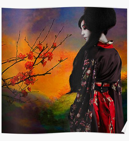 Geisha with Quince Poster