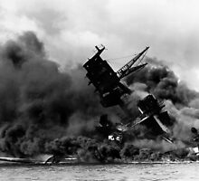 USS Arizona Burning In Pearl Harbor by warishellstore