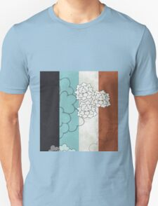 Chinese Flowers & Stripes - Brown Cream Turquoise Blue T-Shirt