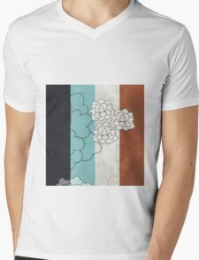 Chinese Flowers & Stripes - Brown Cream Turquoise Blue Mens V-Neck T-Shirt