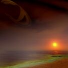sunset on Titan, by a methane sea .. by dennis william gaylor
