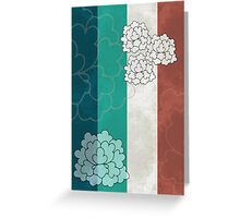 Chinese Flowers & Stripes - Brown Cream Cyan Blue Greeting Card