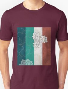 Chinese Flowers & Stripes - Brown Cream Cyan Blue Unisex T-Shirt