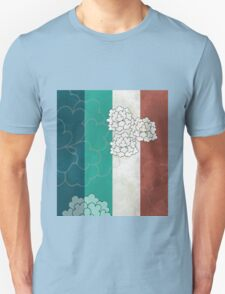 Chinese Flowers & Stripes - Brown Cream Cyan Blue T-Shirt