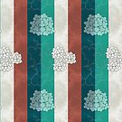 Chinese Flowers & Stripes - Brown Cream Cyan Blue by Katayoonphotos