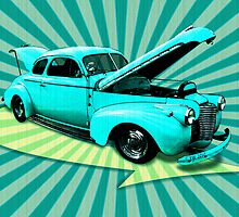 40's Coupe Retro Art by bicyclegirl