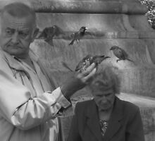 Elderly Parisian couple feeding birds by Amy McHugh