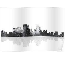 Minneapolis, Minnesota Skyline - Black and White Poster