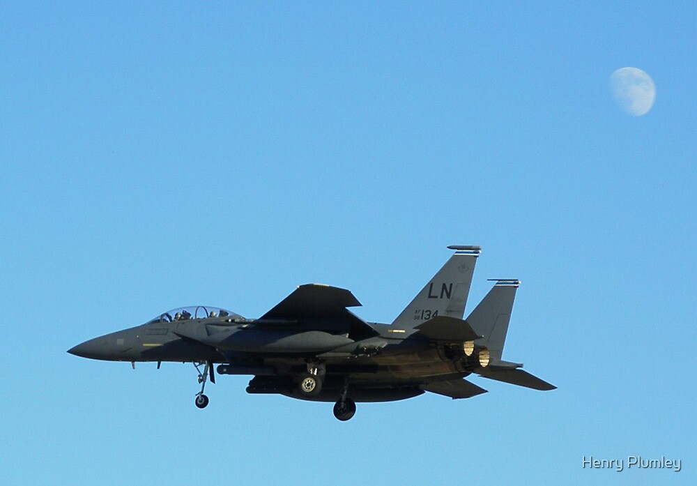 """F-15 Strike Eagle landing """"under"""" the moon by Henry Plumley"""