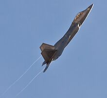 F-22 Raptor creating vapor trails on takeoff by Henry Plumley