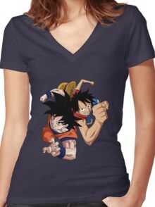 one piece dragon ball z goku luffy crossover anime manga shirt Women's Fitted V-Neck T-Shirt