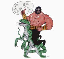 Luchador on a super cool Dinosaur by Stibbz