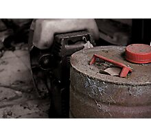 Old rusty fuel container Photographic Print