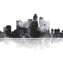 Los Angeles, California Skyline - Black and White by Marlene Watson