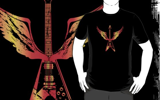 Flying V Guitar (Flames) by designgroupies