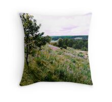 Wiew with purple flowers Throw Pillow