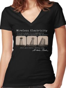 Nikola Tesla - Wireless Electricity Women's Fitted V-Neck T-Shirt