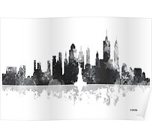 New York, NY Skyline - Black and White Poster