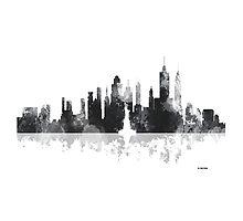 New York, NY Skyline - Black and White by Marlene Watson