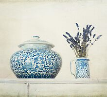 Lavender with Blue and White Ginger Jar by eyeshoot