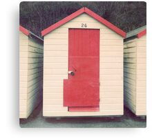 Red and White Beach Hut Canvas Print
