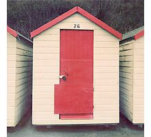 Red and White Beach Hut Photographic Print