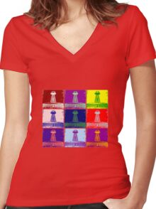 Funky Tesla Tower  Women's Fitted V-Neck T-Shirt