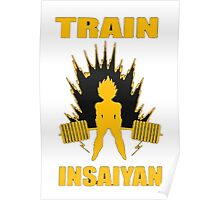 Dragon Ball Z Train Insayian Weight Lifting Shirt Poster