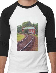 Jonesborough, Tennessee - Curved Train Tracks Men's Baseball ¾ T-Shirt