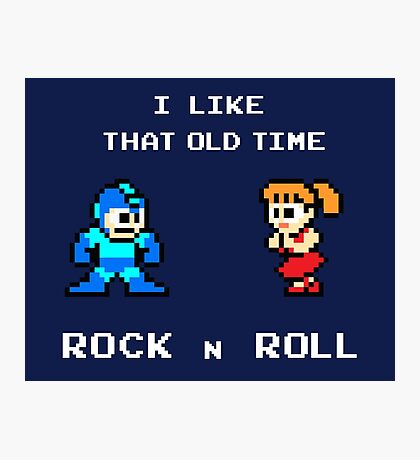 Old Time Rock and Roll - Megaman 8bit Classic Photographic Print