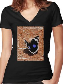 THE  AFRICAN BUTTERFLY  SERIES TEESHIRT Women's Fitted V-Neck T-Shirt