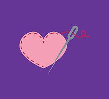 Heart sew with sewing needle by jazzydevil