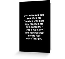 Halsey: Colors Lyrics (White Text) Greeting Card