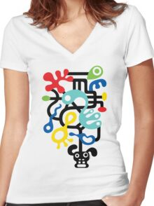 Dog Dreams - on lights Women's Fitted V-Neck T-Shirt