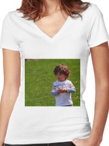 A CHILDS WORLD Women's Fitted V-Neck T-Shirt
