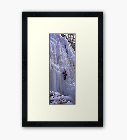 Maligne Fall Ice Climber Framed Print