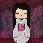 Hearts and Flowers Kokeshi Doll : Japanese Art by soniei