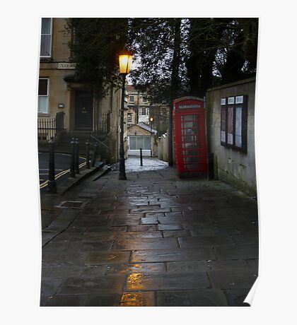 Rainy alley in Bath Poster