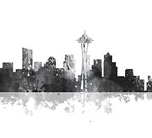 Seattle, Washington Skyline - B&W by Marlene Watson